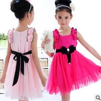 Girls dresses summer chiffon bow Shoulder flower tie brand children's clothing princess dress kids veil baby rose red pink 2013