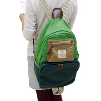 Thick canvas color block big backpack bag decoration men's bag women's travel backpack student school bag