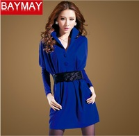 Autumn women's plus size slim ol long-sleeve basic slim hip skirt batwing shirt elegant one-piece dress