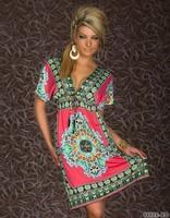 NEW Fashion Retro 1960s 1970s Vintage Paisley Print Deep V Hippie Boho Summer Dress Women Beach Dress 4178