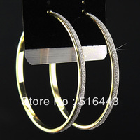 Charms 6Pairs Fashion Gold  Plated Frosted Big Hoop Earrings for Womens Wholesale Jewelry Lots Free Shipping A-874