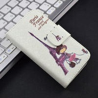 Cute Cartoon Pattern with Stand PU Leather Flip Case For Samsung Galaxy Ace 2 i8160 Phone Cover with Card Holder