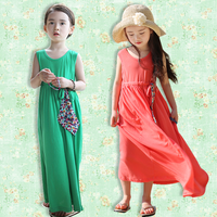 Girls Dress Bohemian dress children's clothing Korean girls cotton Kids baby summer dress paternity green red orange coffee 2014