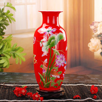 Base ceramics red peony vase wedding gifts home decoration crafts
