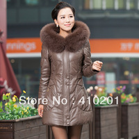 Leather clothing 2013 genuine leather female medium-long down coat sheepskin fox fur winter freeshipping