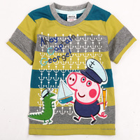 Peppa pig new arrival lovely cartoon children tops tees boys 100% cotton tee shirt 2014 summer 5pcs/lot wholesale