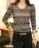 Free Shipping  girl blouse with Necklace, thickened slim lace bead  velvet collar long sleeve shirt  lace shirt  YM1088CY