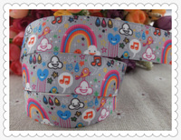 "2013 new arrival 7/8"" (22mm) rainbow music printed grosgrain ribbon cute animals ribbon hair accessories 10 yards"