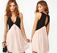 new 2014 Women Sexy Patchwork Back Hollow out Deep V-neck Sleeveless Chiffon Dress Vest Dress Plus Size Free Shipping