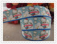 "2013 new arrival  7/8"" (22mm) hello kitty plane printed grosgrain ribbon hairbows ribbon hair accessories 10 yards"