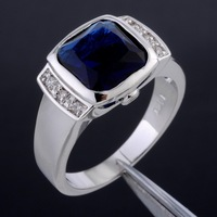 Brand Jewelry Square Blue Sapphire 10KT White Gold Filled Ring Christmas Gift