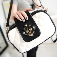 2013 vintage bag princess bag dimond plaid embroidery one shoulder black-and-white women's cross-body handbag