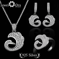 """Swan"" 925 Sterling Silver Wedding Jewelry Sets For Women Fashion Jewelry  #JS100402  AAA Cubic Zirconia  Lady Jewelry Sets"