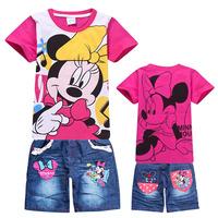 6sets/lot Hot sale Children Cartoon Minnie Mouse sports clothes sets girls summer sets t shirts+ pant jeans suit wholesuit