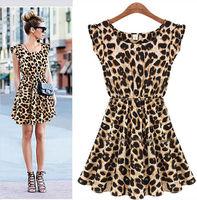 New 2014 Women Casual Leopard Print Dress Microfiber Summer Dresses  size M L XL w10 Free Shipping