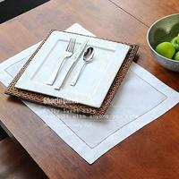 "White Hemstitch Linen Weave Formal Dinner Napkins 33*50cm(13""x20"") New cotton linen placemat Cutout embroidered linen table mat"