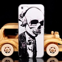 Skull Head with Headphone skeleton Horrible Bone Plastic Hard Case cover for iPhone 4 4S+Free Film PC Skin Mobile Phone Bag