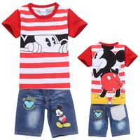 Fashion new brand baby summer suit  STRIPE children Cartoon clothing set Cars boys sets kids short sleeve t shirt+pants sport