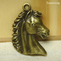 Yearning Antique Bronze Zinc Alloy Lovely Horse Head Charms Pendants Fit Necklace 41*30MM 20pcs/lot