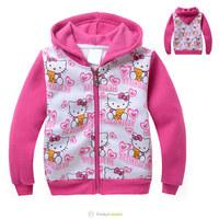New Baby Girls Warm hoodies jacket HELLO KITTY Children Kids Cartoon Sweater, girl Long Sleeve tops kids outware Winter wear