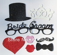 1set of 8pcs NEW Material EVA Shining Wedding bridal groom Photo booth prop on a stick party photography
