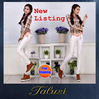 2014 New Women Listed Free Shipping Fashion Tight White Pants Pencil Pants Feet Slim Was Thin Stretch Jeans for Women