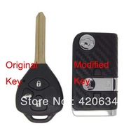 Hot sale Modified Blank Flip remote 3 Buttons Key Shell ForToyota Reiz,Crown 3D Carbon Fiber Sticker Free Shipping