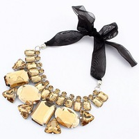 Hot Sale Luxury New Trendy Lady Golden Acrylic Geometric Collar Necklace Bib Ribbon Tie Necklace Jewelry Free Shipping#101695