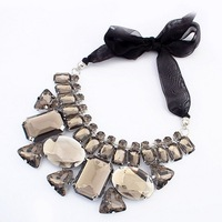 New Trendy Pretty Statement Geometric Acrylic Black Ribbon Tie Bib Necklace Bling Jewelry Wholesale Free Shipping#101696