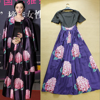 2014 spring and summer women's fashion star style color block print decoration expansion bottom full dress elegant one-piece