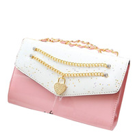 2013 women's handbag female shoulder bag patent leather bag messenger bag heart with diamond chain bag women's bag