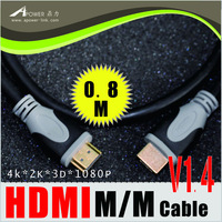 Free Shipping 0.8m 2.6FT HDMI Cable  6FT,1.4V/Male to Male, 3D Ethernet 1080Pfor LCD HDTV DVD PS3 Extender/ Wholesale