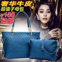 Free shipping women's handbag 2013 big bags genuine leather female shoulder bag cowhide cross-body women's handbag