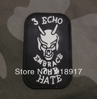 Free Shipping 2pcs PVC Military Patch Rubber Velcro Patches Outdoor sticker embrace