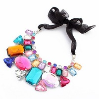 New Design Focus Multicolor Big Rhinestone Acrylic Women Ribbon Bib Statement Necklace Hot Costume Jewelry Free Shipping#101698