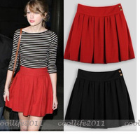 NEW Free shipping FASHION Women Girl Vintage Ruffle Pleated Skirt Above knee skirt