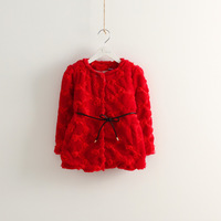 1pc Retail 2013 Autmn Winter faux fur jacket for girl children rose flower warm coat for 2-5 years