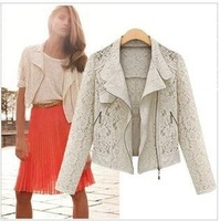 2014 New Women White Hollow Out Lace Jacket Biker Chic Lapel Coat Long Sleeves Suit Zipper Vintage Floral Jackets Thin Outerwear