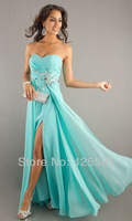 2014 New Designs Fashion Sweetheart  Strapless Chiffon Crystal Zipper Split Evening Gown Prom Party Dress