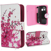 Pink Plum Card Slot Leather Cover Stand For Samsung Galaxy Young S6310 6310  FreeShipping