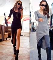 Women OL Sexy Split Irregular Slim Clubwear Asymmetric Hem High-low Maxi Swallow Long Women Dress