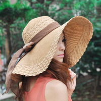 Wholesale and Retail Fashion Women Wide Large Brim Floppy Summer Beach Sun Straw Hat Cap with big bow