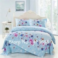 Summer flower pattern 4Pcs of bedding sets luxury include Duvet Cover Bed sheet Pillowcase,bedclothes,Home textile,Free shipping