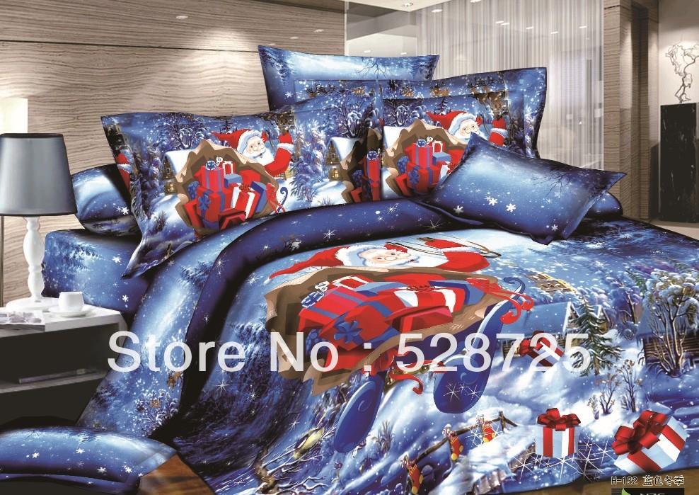 Free shipping Blue santa duvet cover set santa bedding set 3D Santa queen king size bedding set christmas bedding set(China (Mainland))
