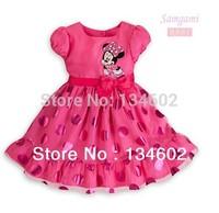 Retail 2014 Summer girls fashion Dresses cartoon Minnie Mouse dot bow short-sleeve princess dress children party dress. 2 colors