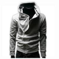 2013 autumn and winter outerwear male oblique zipper with a hood sweatshirt slim sweatshirt male hoodie