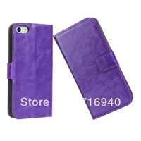 50PCS/LOT Case for iPhone5 5S Wallet Case for iPhone5 5S Crazy Horse Pattern PU Leather Case for iPhone5 5S-DHL Free Shipping