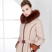 Fox large fur collar patchwork abstract beige waist slim medium-long down coat female  =Yr4