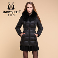 Down coat female snowqueen queen fur collar medium-long down coat  =Yr4