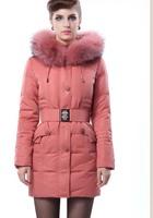 Women's medium-long thickening down ultra long fur coat fur collar  =Yr5